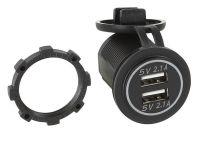 USB Ladeadapter 12V/24V 2 X 5V 2.1A zur Installation / blau