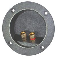 Lautsprecher Anschlußterminal 75x25mm rund, vergoldete Anschlüße