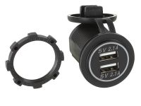 USB Ladeadapter 12V/24V 2 X 5V 2.1A zur Installation / weiss